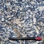 Coarse-grained K-feldspar granite of Mesoproterozoic age (~1.05 Ga)  exposed in the Blue Ridge province Nelson County, Virginia.