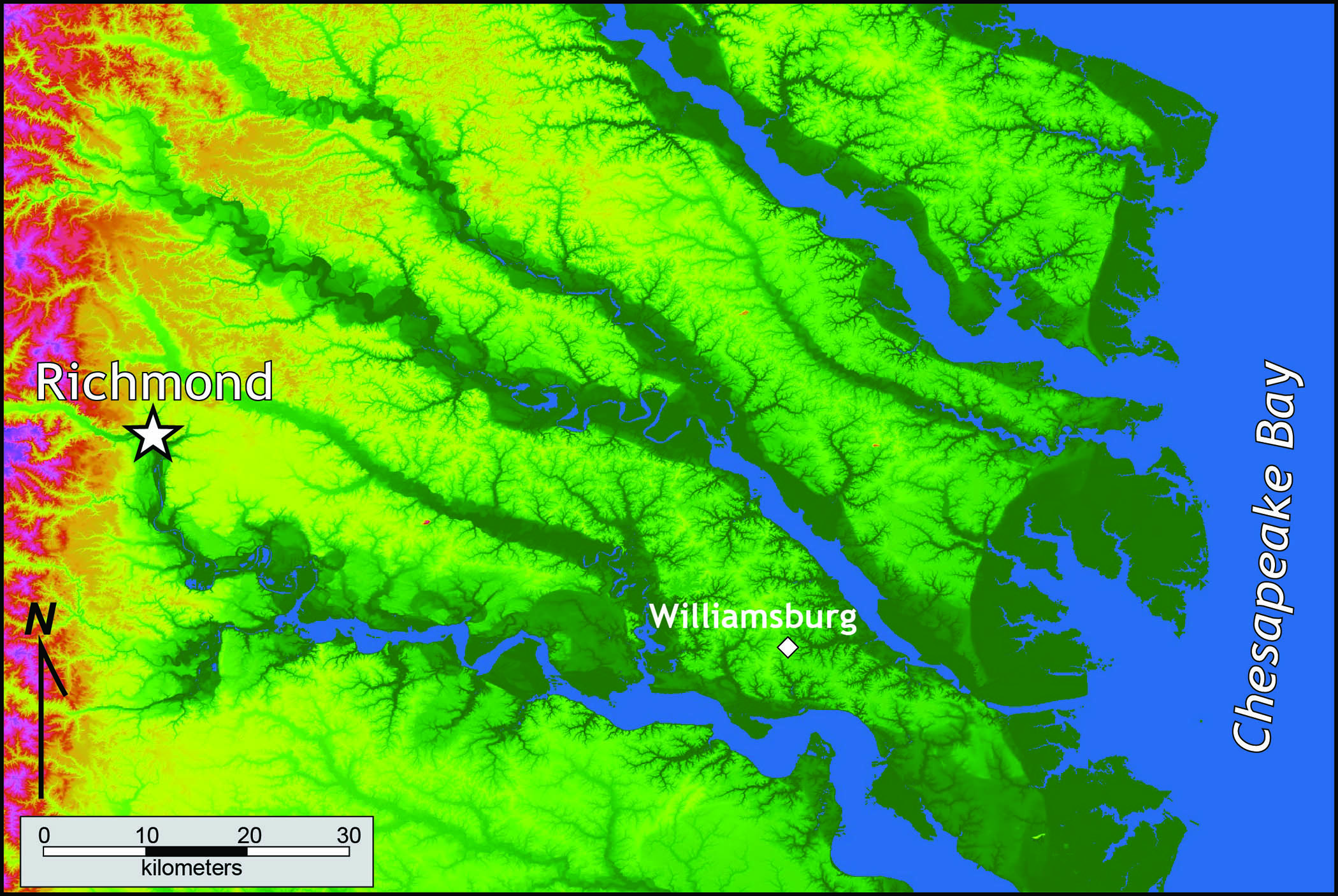 Relief Map Of Virginia.Coastal Plain The Geology Of Virginia