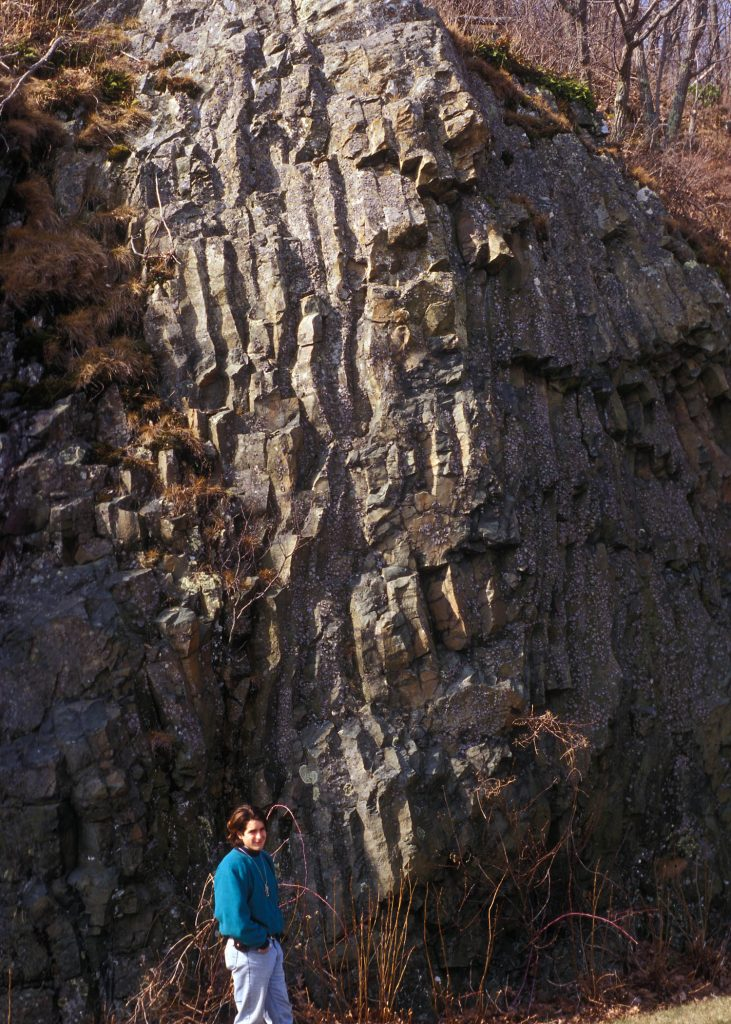 Columnar joints in metabasalt of the Catoctin Formation exposed along the Skyline Drive, in Shenandoah National Park.