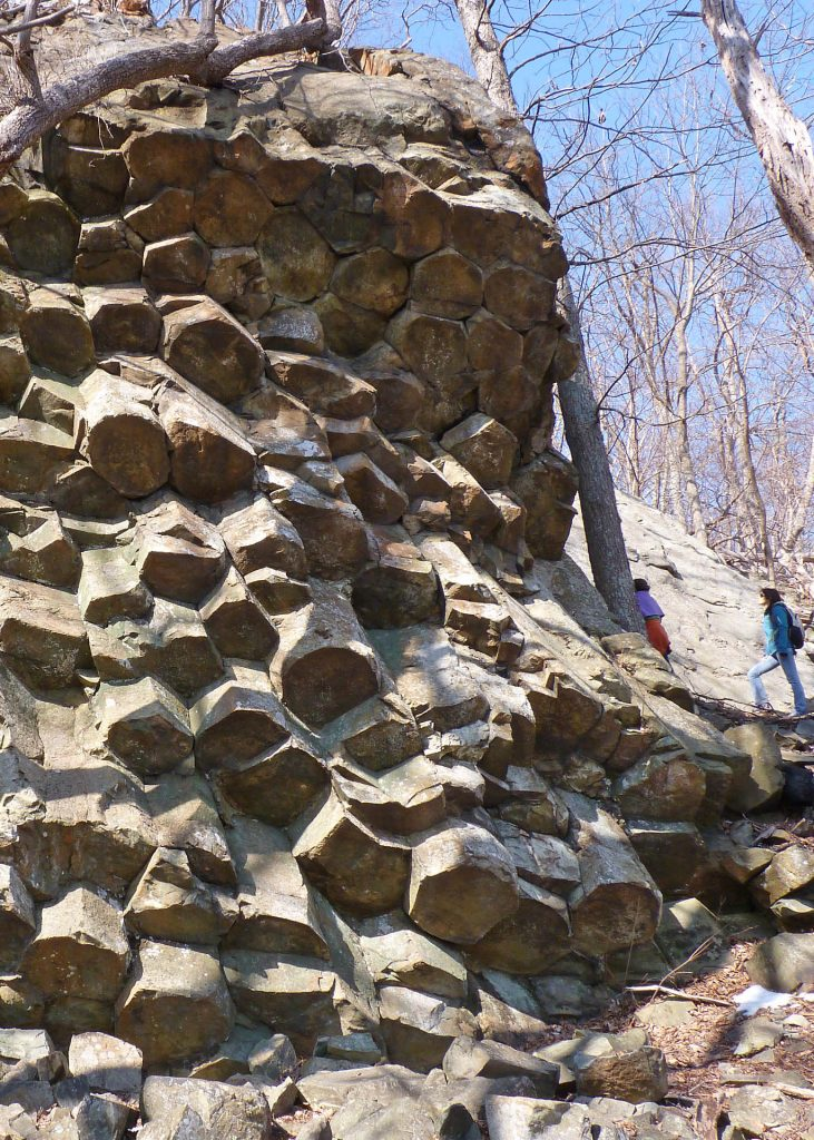 Well-exposed columnar joints in the Ediacaran Catoctin Formation.  Exposure on Compton Mountain in Shenandoah National park.
