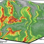 Oblique shaded relief maps (view to the north-northeast) of the Valley & Ridge province near Blacksburg, Virginia.