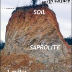 Saprolite expose below soil in the Piedmont.