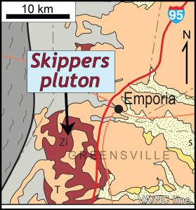 Simplified geologic map of the Skippers pluton near Emporia, Virginia.  The pluton is covered, in part, by Cenozoic sediments of the Coastal Plain, and intrudes older metamorphic rocks