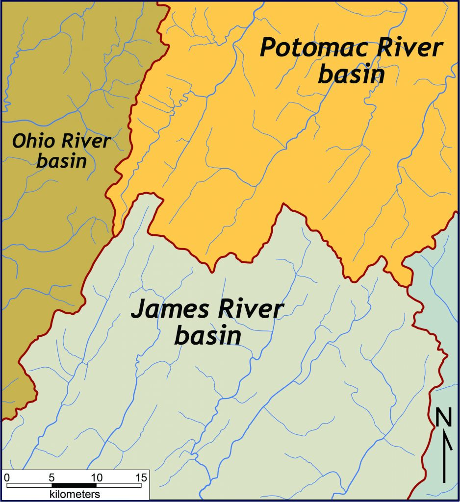 Trellis drainage pattern in the Valley & Ridge in the headwaters region of the James, Potomac, and Ohio river systems in northwestern Virginia and eastern West Virginia.