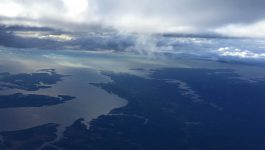 Aerial view (to the southeast) towards the mouth of the Rappahannock River