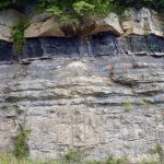 Layers of sandstone, shale, and coal in the Appalachian Plateau, Wise County.
